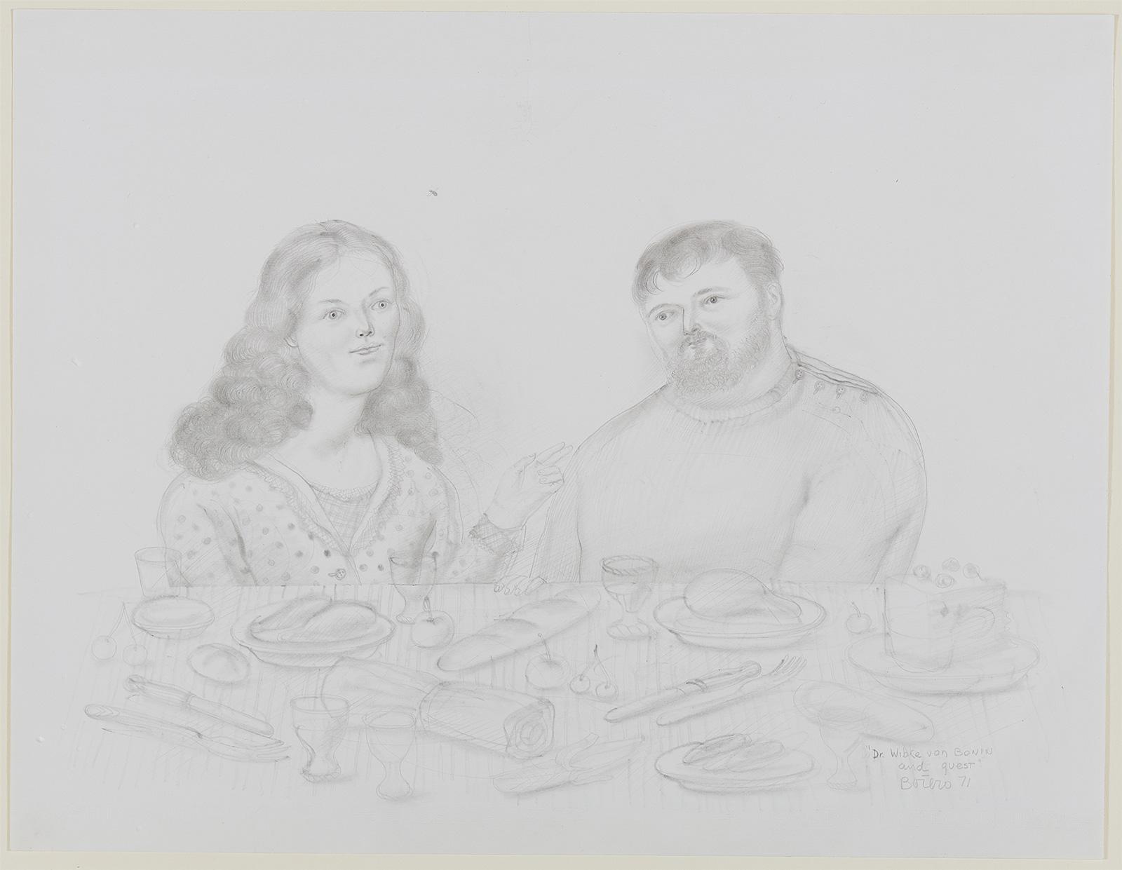 Fernando Botero: Dr. Wibke von Bonin and guest (Harald Szeemann) | ARGUS Art Asset Austria, Wien